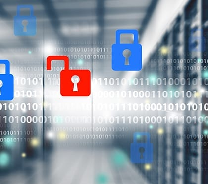 binary code with lock symbols and background image of servers for network security