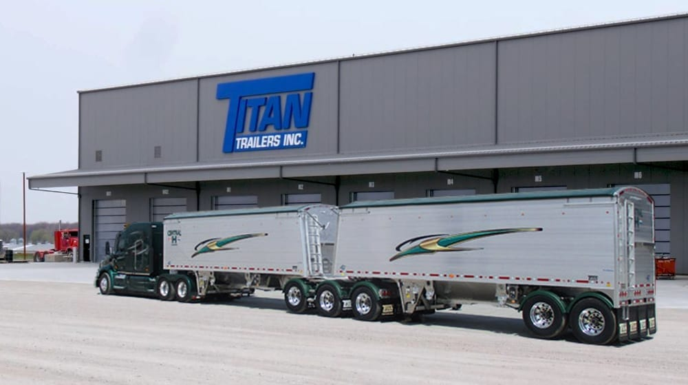 Truck in front of Titan Trailers warehouse